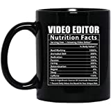 Funny Video Editor Nutritional Facts Taza de café negra, 11 oz
