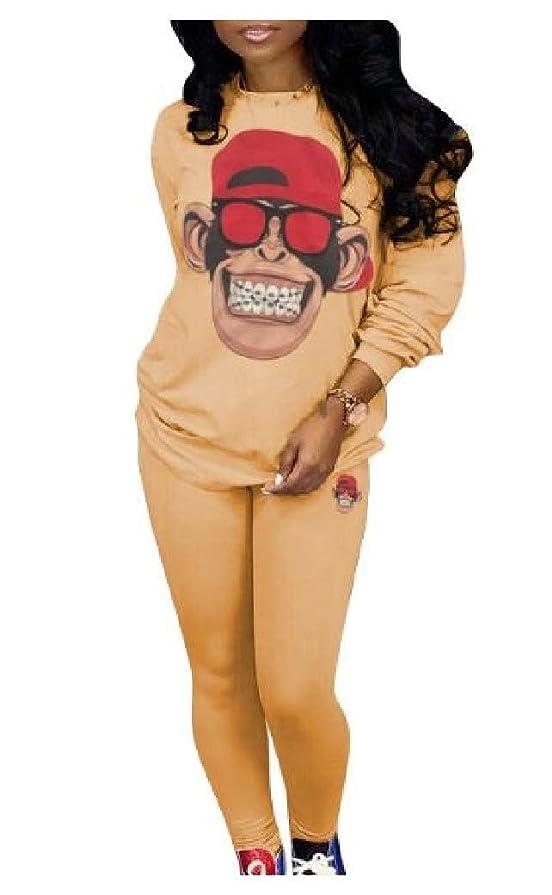 観客ピアマウンドBeeatree 女性アスレチック純粋な漫画プリントカジュアルトップスアウトウェアとパンツの衣装