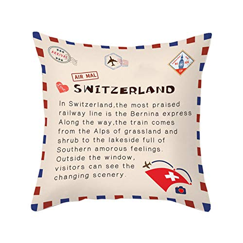CawBing Cotton Peachskin Pillow Case Home Decoration Switzerland Countries Envelope Design Printed Pillow Cover Soft Pillowcase for Home Sofa Couch Cushion (18' x 18')