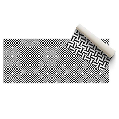 DON LETRA Alfombra Vinílica de 200 x 100 cm para Salón, Cocina, Dormitorio, Baño, Oficina y Tienda, Material Resistente y Lavable, Grosor de 2 mm, Color Blanco y Negro, ALV-029