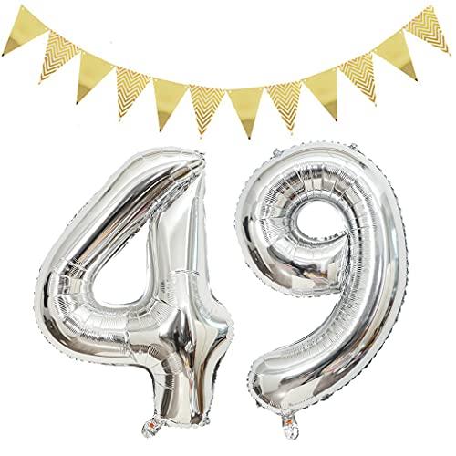 2 globos de 100 cm con el número 49 para cumpleaños, decoración de plata + 1 juego triángulo banderas doradas, XXL, 100 cm, globos gigantes de plata con número 49, globos de helio con número 49