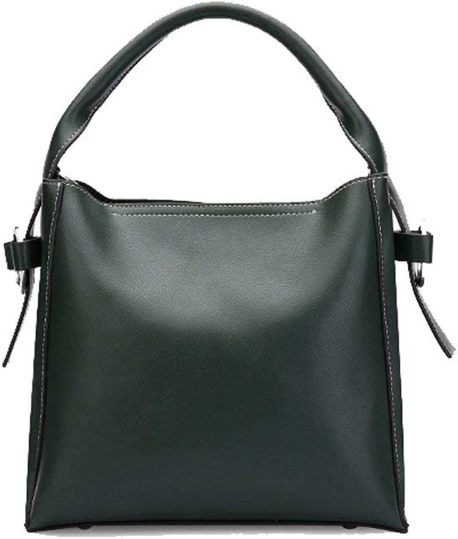 Ladies Handbag Top-Handle Bags Women's Leather Cross Body Bag Bucket Bag Europe America Handheld Shoulder Bag Large Large Size Casual Street Work Travel (color   Dark Green)