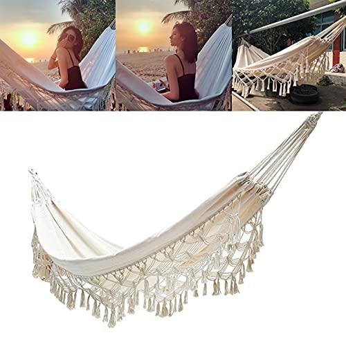 Alextry - Grande amaca matrimoniale in cotone con frange, per spiaggia, cortile, da appendere