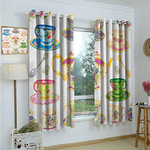 Gardome Blackout Curtains Tea Party,Selection of Vivid Colored Teacups Pot Sugar and Floral Arrangements in Corners,Multicolor,Room Darkening Blackout Drapes for Bedroom,Nursery,Living Room 52'x63'