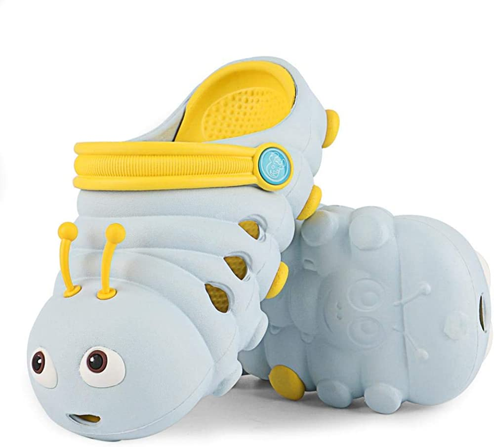 Kiyoh Comfortable Little Kids Clogs Soft Toddler Sandals Baby Slippers Funny Caterpillar Designed Garden Clogs Shoes for Girls Boys