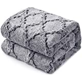 KAWAHOME Faux Fur Blanket Winter Super Soft Cozy Warm Fluffy Plush Blanket Quatrefoil Pattern for Couch Sofa Bed King Size 108 X 90 Inches Grey