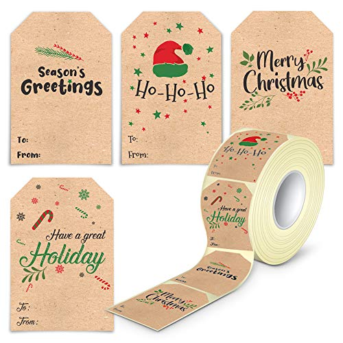 Self Adhesive Christmas Name Tags Stickers - 80 Pieces Kraft Christmas Label Tags for Presents Easy to Write On in a Dispenser Box (Kraft)