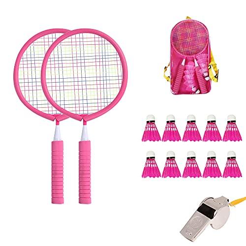 Komake Juego de Bádminton con 10 bádminton, Rosa Set de Badminton Junior para Niños Juguetes de Bádminton con Silbato para Niños de 3 a 12 Años