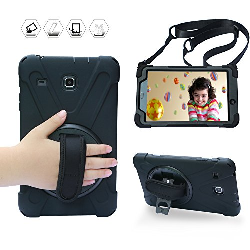 BRAECN Galaxy Tab E 8.0 Case,360 Degree Rotation Stand/ Hand Strap and Shoulder Strap Case [Shock Proof] Hybrid pc+Silicone Cover for Samsung Tab E 8'' SM-T375/ SM-T377/ SM-T378 (Black)
