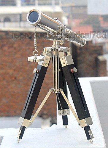 Safa - Telescopio náutico Vintage de latón Plateado para Escritorio, Hecho a Mano, trípode de Madera, decoración náutica