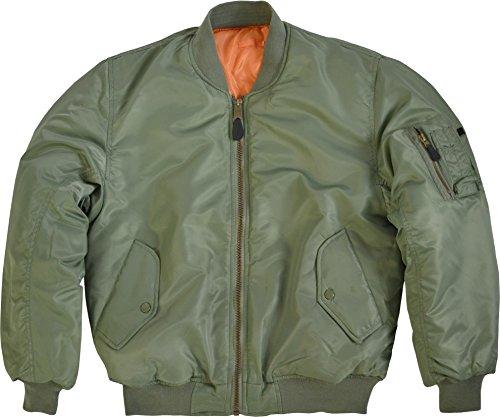 normani Bomber Jacke/US Pilotenjacke Strickbund am Kragen Farbe Oliv Größe 5XL