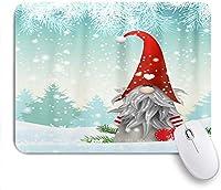 ゲームマウスパッド、メリークリスマスかわいいGnome雪だるま冬の雪スノーフレーククリスマスツリージングルベル新年あけましておめでとうございます装飾、ノンスリップラバーバッキングマウスパッドノートブックコンピュータマウスマット