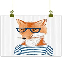Sumilace Art Prints and Posters Fine Art Wall Poster, Hipster Woman Fox with Glasses and Striped Shirt Humor Character Animal Print Home Decor Pictures - 20
