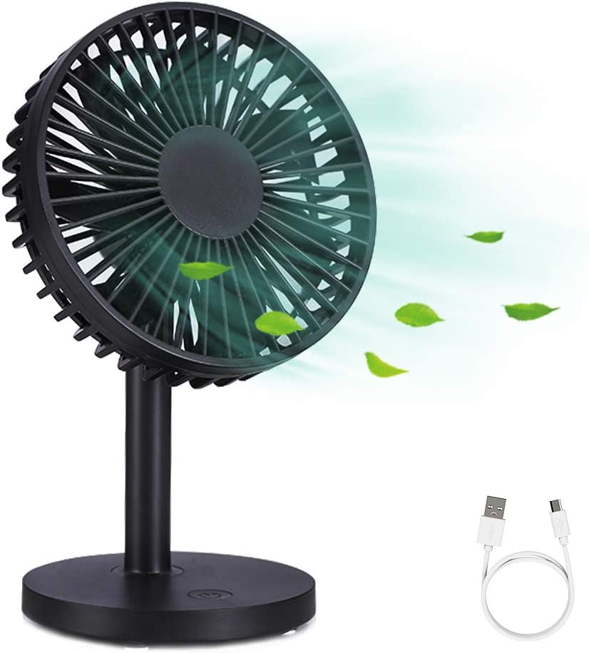 WD&CD USB Fan Mini Desk Fan Powerful Airflow with 7 Blades, 3 Speeds, Adjustable Head for Home Office (Black)
