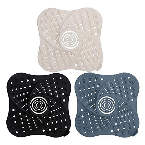 Colector de pelo de baño (3 unidades), diseño de espiral de drenaje para el cabello, con ventosas fuertes, protector de drenaje de bañera, silicona
