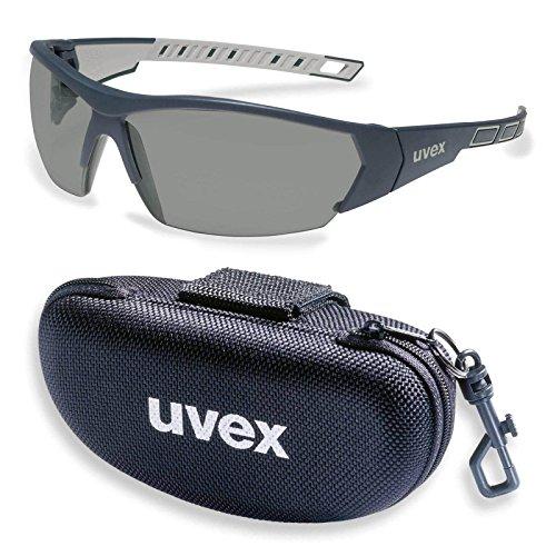UVEX Schutzbrille i-works 9194270 anthrazit / grau mit UV-Schutz im Set inkl. Brillenetui - leichte und sportliche Sicherheitsbrille, Arbeitsschutzbrille