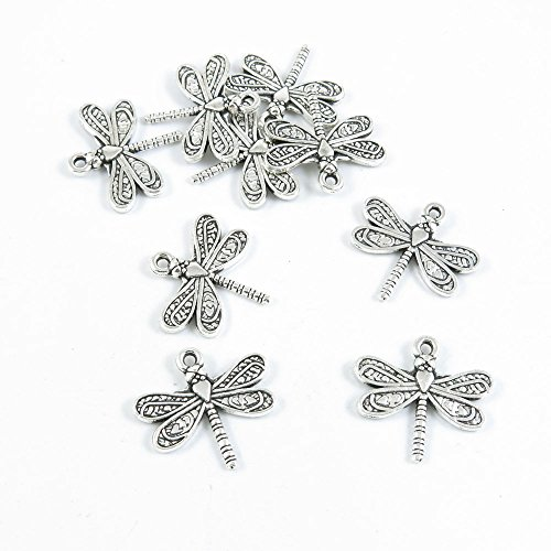 Price per 30 Pieces Antique Silver Tone Jewelry Making Charms Supply C0IX8 Dragonfly