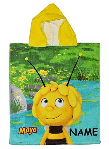 alles-meine.de GmbH Badeponcho -  Biene Maja  - incl. Name - 50 cm * 115 cm - 4 bis 8 Jahre Poncho - mit Kapuze - Handtuch Strandtuch Baumwolle - Jungen & Mädchen für Kinder Ba..