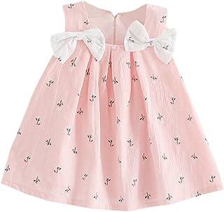 Weixinbuy Newborn Baby Girl's Sleeveless A-Line Tank Top Bowknot Summer Dresses