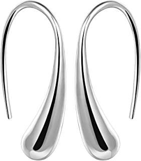 NABTYJC Fashion Classic Sterling Silver Thread Drop Earrings,Teardrop Back Earrings (White/1 Pair)