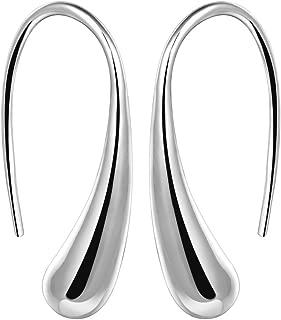 AMBESTEE Women Sterling Sliver Plated Classic Fashion Design Thread Drop Earrings,Teardrop Back Earrings Hoop Earrings for Party, Meeting, Dating, Wedding, Daily Wear