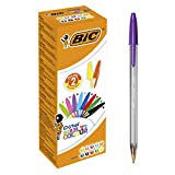 BIC Cristal Multicolour Stylos-Bille Pointe Large (1,6 mm) - Couleurs Assorties, Boîte de 20