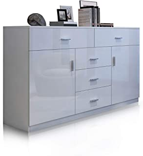 Buffet Table Sideboard Cabinet High Gloss Storage Cupboard 2 Doors & 5 Drawers White 150CM
