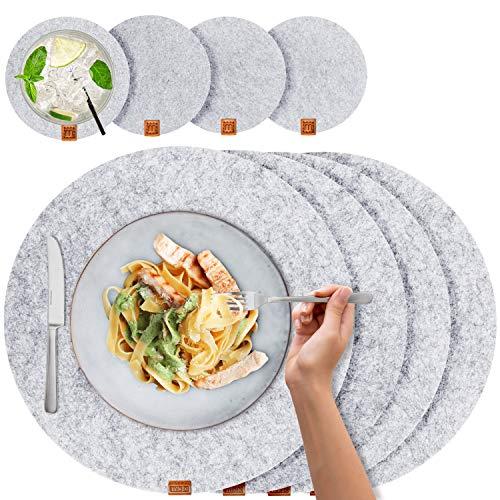 MIQIO <p Fieltro y Cuero - Manteles de diseño (Redondos) - Juego con 4 manteles Premium Lavables de 37 cm y 4 Posavasos para Bebidas (Gris Moteado)</p>
