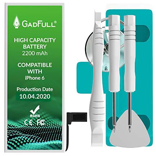 GadFull Akku für iPhone 6 mit Hoher Kapazität | 2020 Baujahr | Reparaturset mit Anleitung & Ersatz Klebestreifen Set | ohne Ladezyklen | Qualitäts Erzatzakku | Funktioniert mit alle original APN