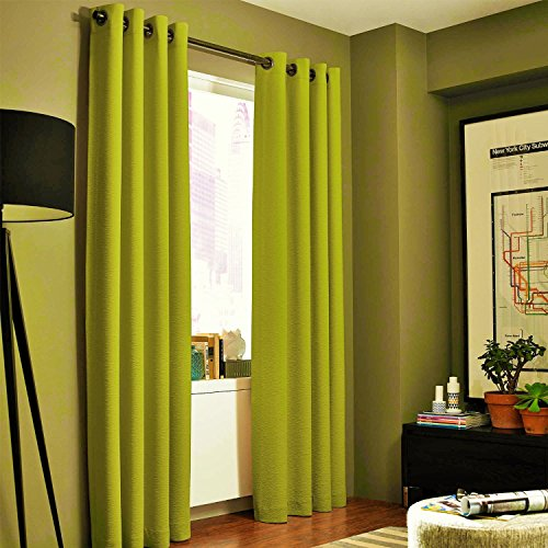 """Gorgeous Home (#32) 1 Panel Solid Plain Thermal Foam Lined Blackout Heavy Thick Window Curtain Drapes Silver Grommets (Lime Green, 95"""" Length)"""