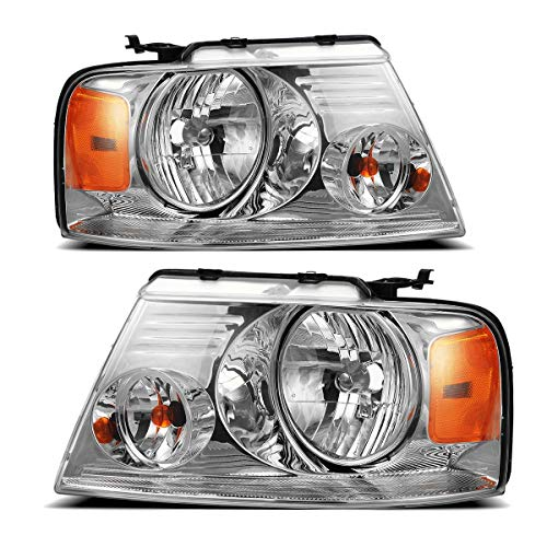 Partsam Headlight Assembly Replacement for Ford F150 2004-2008 Pickup, Compatible with Lincoln Mark LT 2006 2007 2008, Driver and Passenger Side Pair Headlamps Amber Reflector FO2502201 FO2503201