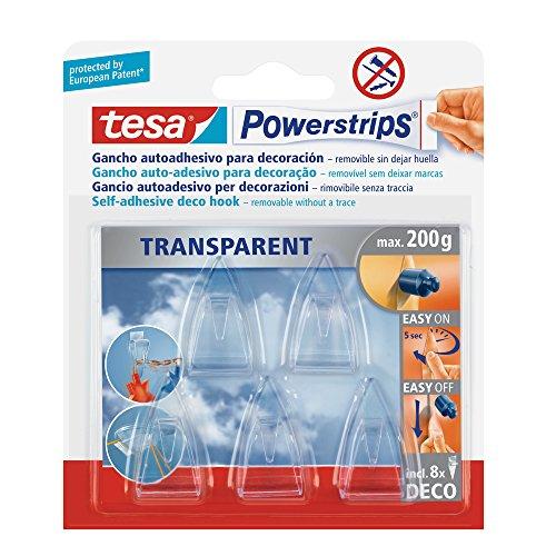 Tesa TE58900-00014-02 transparentes, 5 ganchos + 8 Tiras Powerstrips Deco, Standard