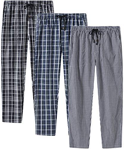 JINSHI Hombre Pantalones Largos de Pijama Algodón Casa Pantalón a Cuadros con Bragueta de Botón 3...