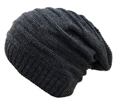 EASY4BUY® Wrinkled Slouchy Beanie Woolen Cap for Men & Women(Dark Grey)