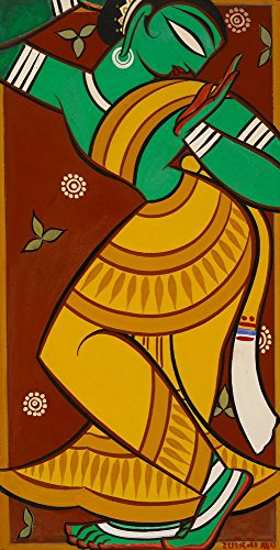 Berkin Arts Jamini Roy Giclee Print On Canvas-Famous Paintings Fine Art Poster-Reproduction Wall Decor(Painting of Dancing Gopi) Large Size 19.8 x 39inches