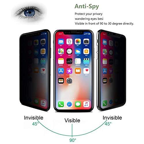 PremiumTech iPhone X Protector de Pantalla Cristal Templado con Privacidad Anti-Espia
