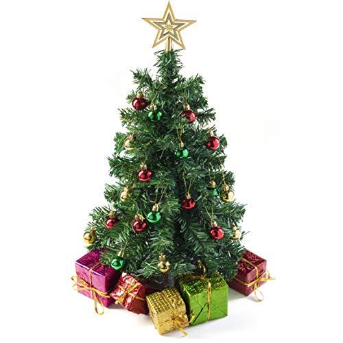 Prextex 58cm DIY-Mini-Weihnachtsbaum für Tische mit dekorierten Geschenkschachteln, hängendem Baumschmuck und Stern-Baumaufsatz für DIY-Weihnachtsdekoration
