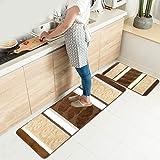 HEBE Kitchen Rugs Set 2 Piece Machine Washable Non-Slip Kitchen Mats and Rugs Runner Set Rubber...