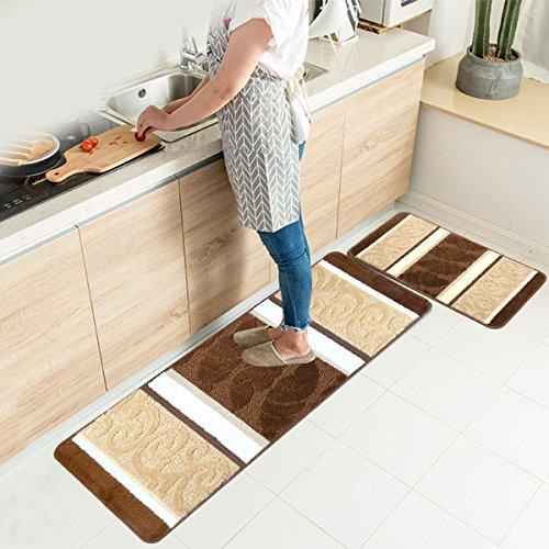 "HEBE Kitchen Rugs Set 2 Piece Non Slip Machine Washable Kitchen Mats and Rugs Runner Set Rubber Backing Indoor Outdoor Entry Floor Carpet Entrance Door Mat Runner(18""x47""+18""x30"", Brown)"
