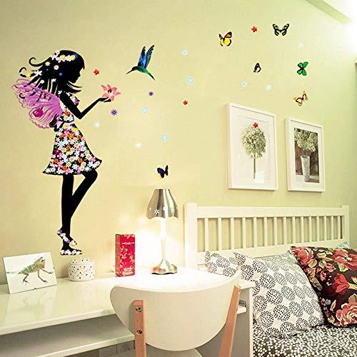 Pegatinas de pared 3D Hermosa flor de mariposa muchachas de hadas aves, bricolaje Arte casera del PVC fondo de pantalla, Corredor de sala de juegos for niños y niñas de decoración de interior 50x70cm