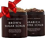 Brooklyn Botany Brown Sugar Body Scrub & Arabica Coffee Body Scrub - Exfoliating Body, Face,& Foot Scrubs for Stretch Marks, Cellulite, Varicose Veins and Acne Scars - 10 oz Each