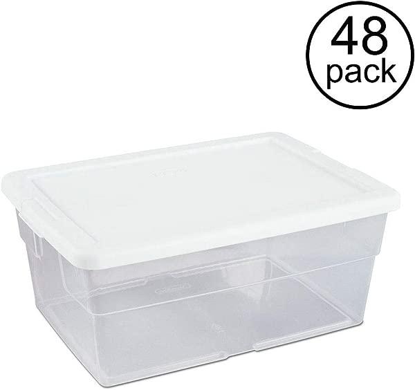 Sterilite 16 Quart Clear Stacking Closet Storage Box Container Tub 48 Pack