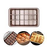 Yisily Brownie de estaño, Bandeja Antiadherente Brownie con Moho divisores Brownie Cuadrado de Molde para Pasteles Brownie Maker para Cocina Recipientes de cocción -Brown
