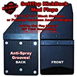 SoftTop KickBack Universal 12' Wide Front Or Rear Mud Flaps Black Anchor weights For All Lifted Trucks With Oversizes Tires