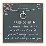 EFYTAL Best Friend Gifts, Sterling Silver Studded Ring Interlocking Circles Necklace, Friendship Necklaces, Bridesmaid Gift, Pendant Jewelry for Her