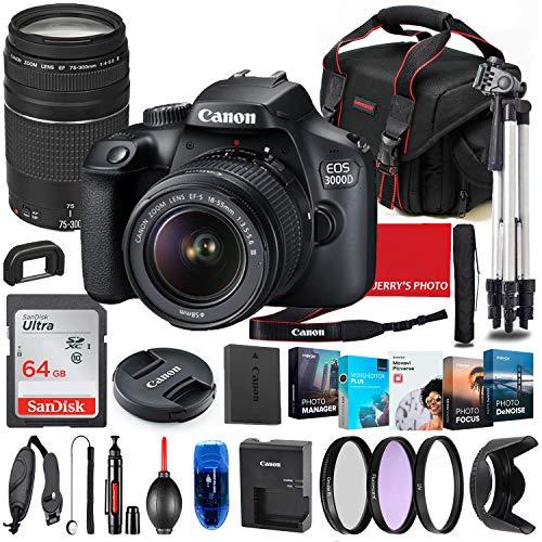 Canon EOS 3000D (Rebel T100) DSLR Camera with 18-55mm & 75-300mm Lens Bundle + Premium Accessory Bundle Including 64GB Memory, Filters, Photo/Video Software Package, Shoulder Bag & More