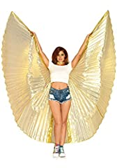 Size: One Sizes Fit Most Color: gold Material: wings 71 percent metallic, 29 percent nylon Highly recommended hand wash in cold water, do not bleach, drip dry or iron