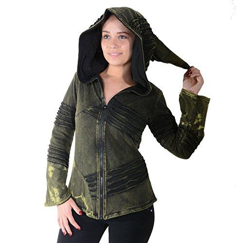 KUNST UND MAGIE Damen Cutwork Goa Jacke mit Zipfelkapuze, Größe:3XL, Farbe:Army Green