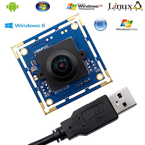 8 MP USB Camera Module with 180 Degree Fisheye Lens USB Webcam Super HD 3264X2448 Embeded Camera for Industrial,USB with Camera for Linux Windows Android Mini Web Cam Plug&Play OTG Supported Webcamera