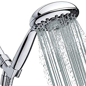 """High Pressure Handheld Shower Head 6-Setting - Luxury 5"""" Hand held Rain Shower with Hose - Powerful Shower Spray Even with Low Water Pressure in Supply Pipeline - Low Flow Rainfall Showerhead"""
